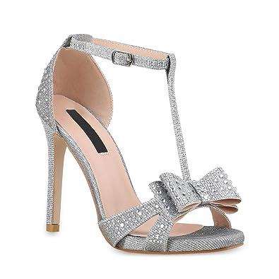 0690c8f1d9fc9a Damen Strass Sandaletten Stiletto High Heels Party Braut Hochzeit  Abschlussball Nieten Prints Schuhe 135647 Silber Nieten