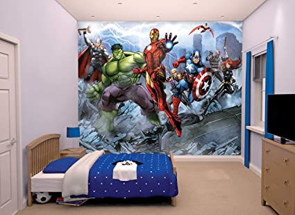 Walltastic Avengers Assemble Wallpaper Mural Multi Coloured 3048 Cm L X 2438 W