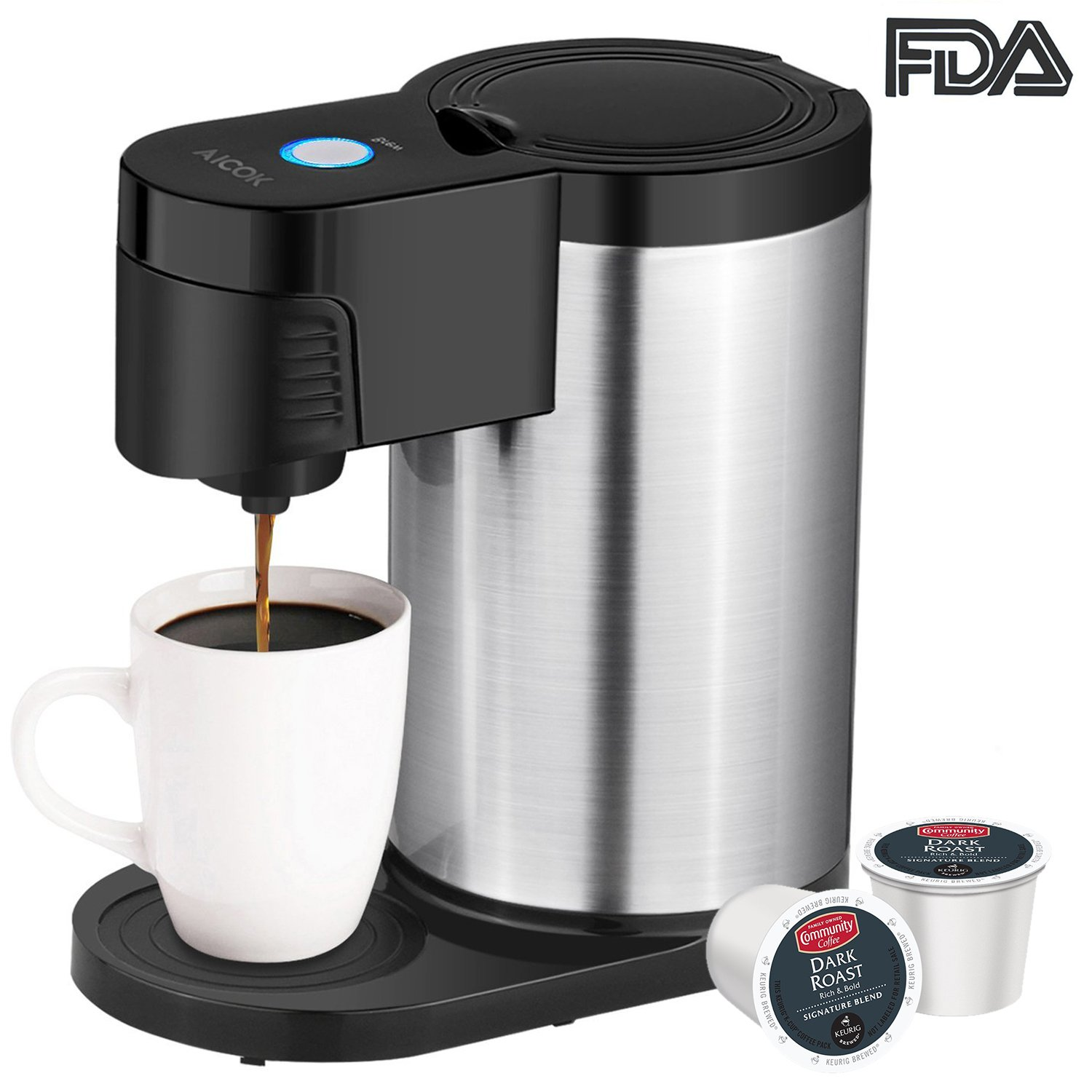 Aicok Single Serve Coffee Maker, Single Cup Coffee Maker for Most Single Cup Pods including K Cup Pods, One Cup Coffee Maker with Stainless Steel Body by Aicok (Image #1)