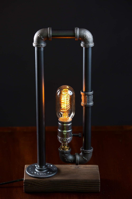 Minimalist Industrial Steampunk Desk Lamp Wood Base w Iron Piping Vintage Antique Designer Lighting Retro Edison Medium Screw Lamp Holder Task Reading Light Hallway Study Bedroom Tattoo Parlor