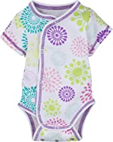 MiracleWear Short-Sleeve Patented Adjustable Snap-N-Grow 100% Cotton Bodysuit by Miracle Blanket (Newborn Kimono Style, Colorful Burst)