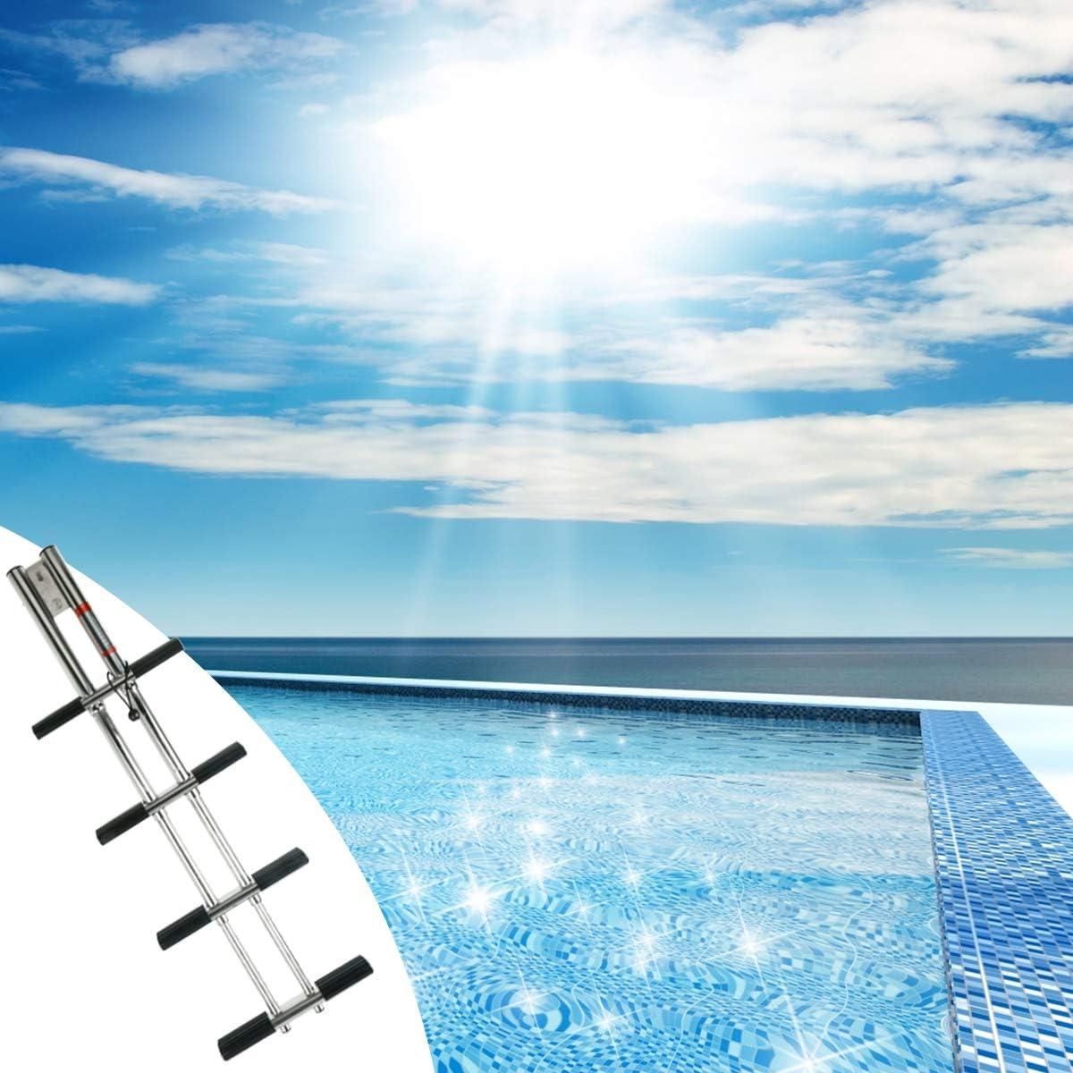 SCXLF Telescópico Escaleras para Piscinas, Doble Inoxidable Tubo Escalera de Cubierta Deportiva para Barcos, Buzo Escalera de 4 Pasos, Dock Fold Yacht Barco Barco Escalera: Amazon.es: Hogar