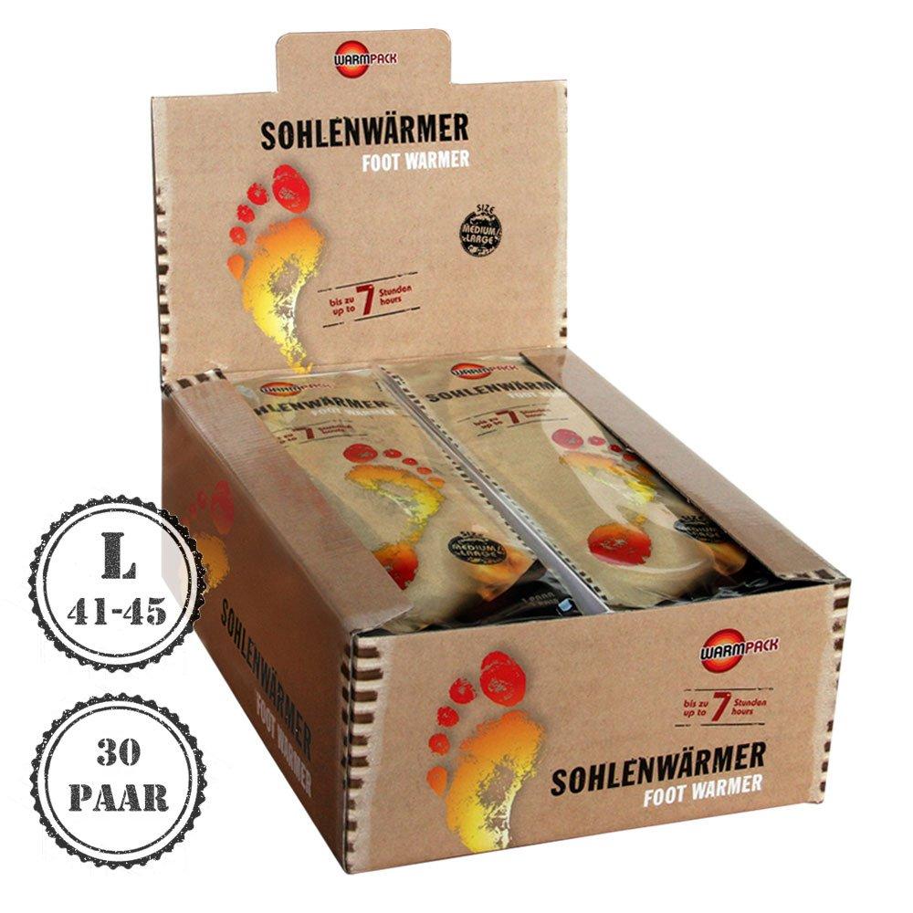 30 Paar Warmpack Sohlenwärmer L | angenehme Wärmepads | kuschlig weiches Wärmekissen | 7 Stunden wohltuende Wärme | 30er Pack | Größe L
