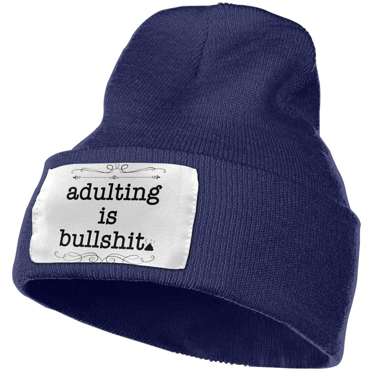 Adulting is Bullshit Men/&Women Warm Winter Knit Plain Beanie Hat Skull Cap Acrylic Knit Cuff Hat