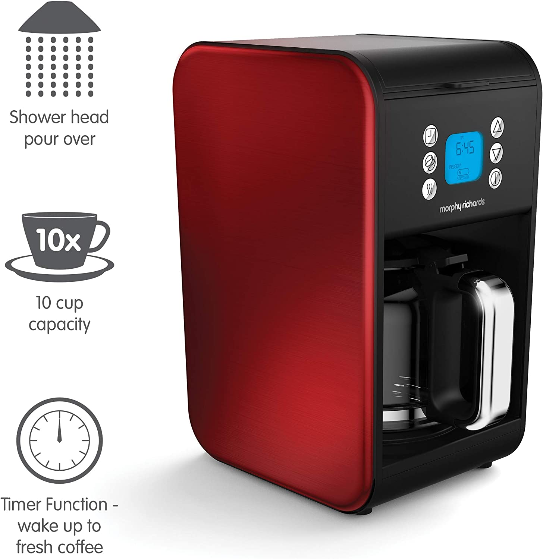 Refurbished 1.8 Litre Morphy Richards 162009 Pour Over Filter Coffee Maker 900 W Morphy Richards Coffee Machine Red