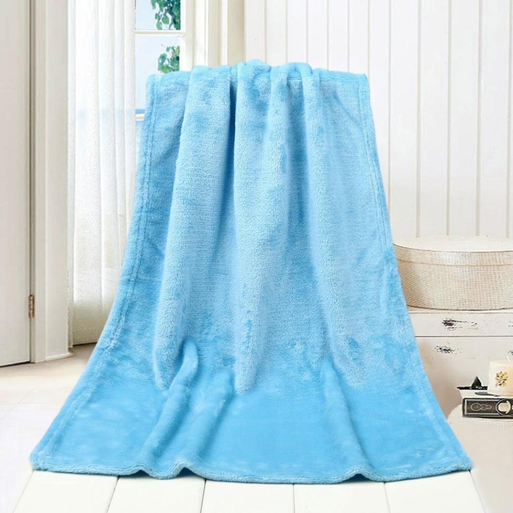WensLTD 50X70CM Fashion Solid Soft Throw Kids Blanket Warm Coral Plaid Blankets Flannel (Sky Blue)