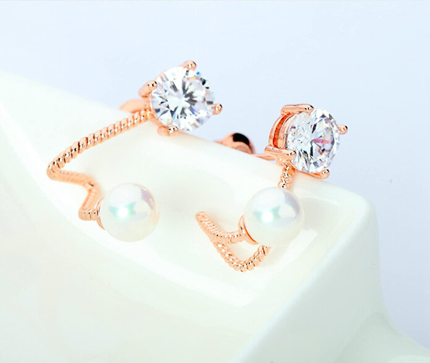 Gnzoe Jewelry Women Rose Gold Plated Stud Earring 4-Prong Round White Cubic Zirconia Round Pearl 18.5x13MM
