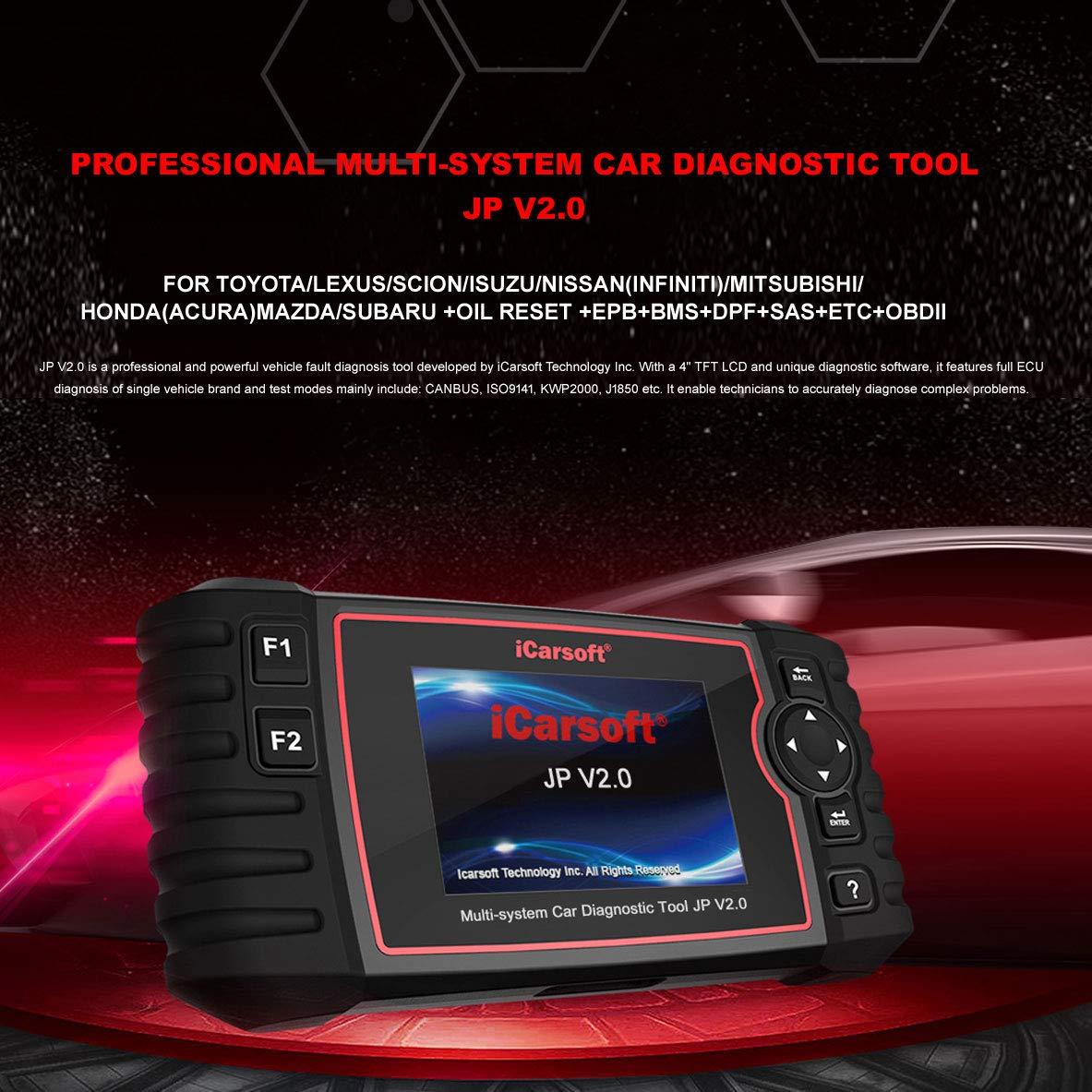 EPBMS+DPF+SAS+ETC+BLD+INJ Acura reinicio de Aceite iCarsoft JP V2.0 Herramienta de diagn/óstico para veh/ículos japoneses Toyota//Lexus//Scion//Isuzu//Nissan//Infiniti//Mitsubishi//Honda //Mazda//Subaru