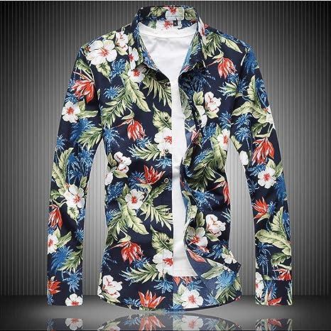 YAYLMKNA Camisa Camisa De Hombre Ropa De Manga Larga Estampado De Flores Camisas De Vestir para Hombre Camisa Masculina De Verano, M: Amazon.es: Deportes y aire libre