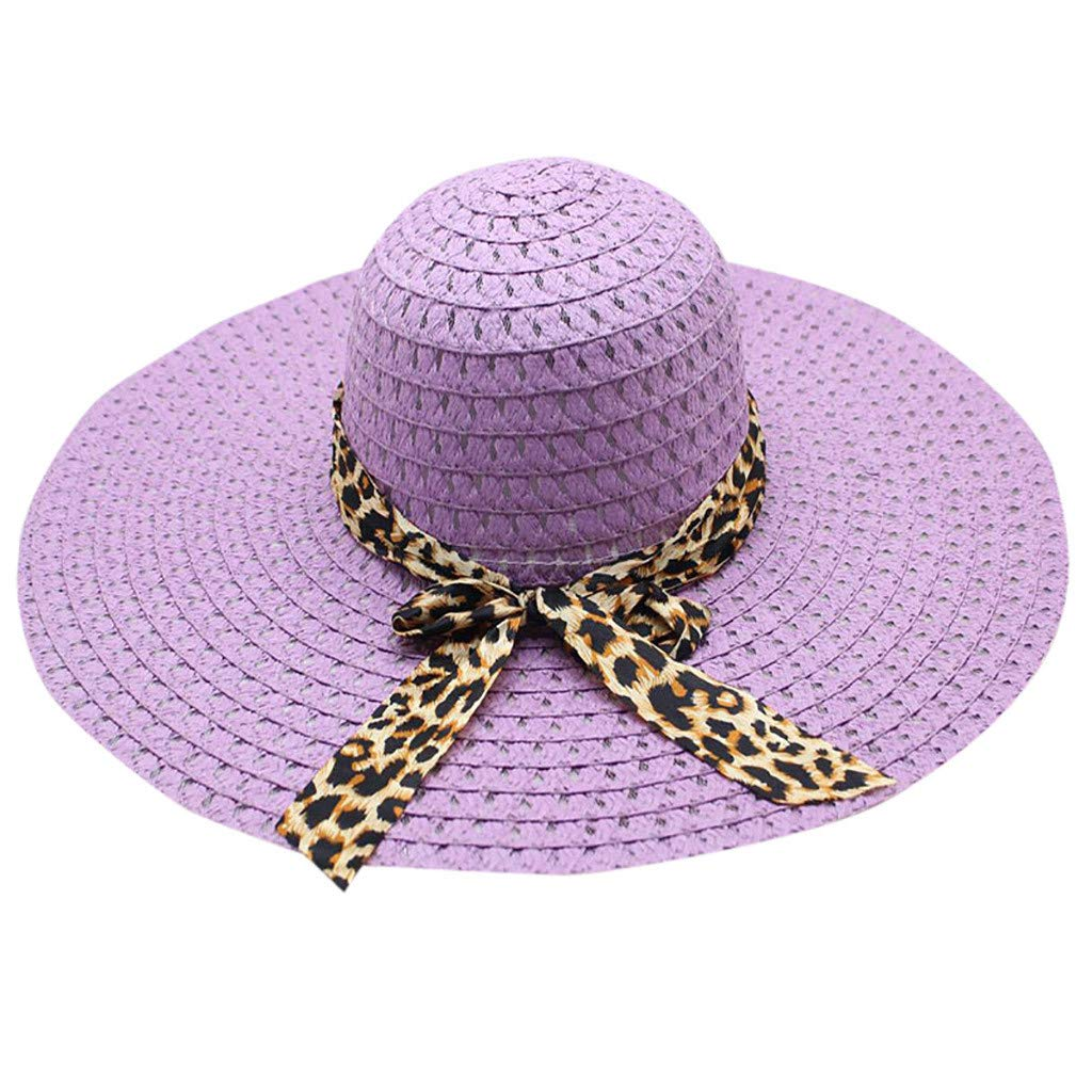 WUAI Womens Wide Brim Straw Hats Leopard Print Sun hat Folding Travel Beach Cap(Purple,Free Size)