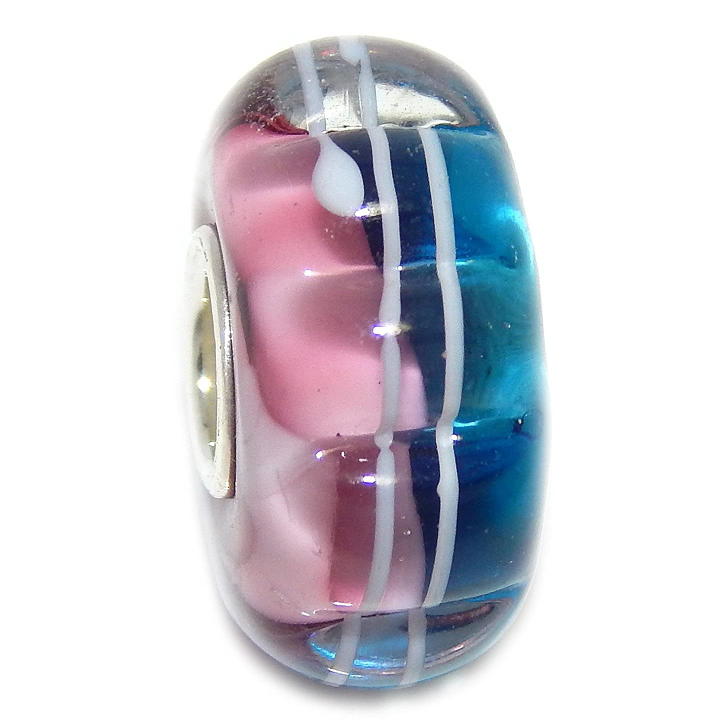 Solid 925 Sterling Silver Flower Shape with Blue and Pink Background and White Stripes Glass Charm Bead