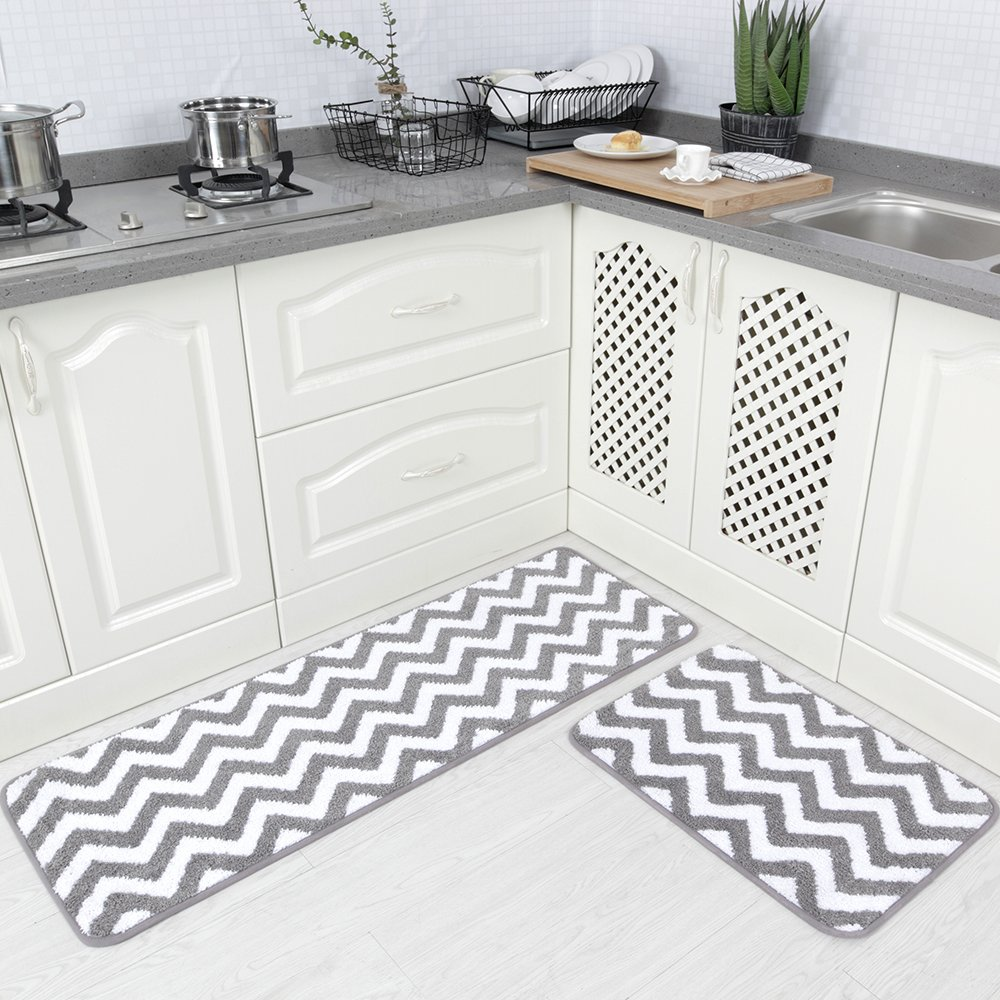 Carvapet 2 Pieces Microfiber Chevron Non-Slip Soft Kitchen Mat Bath Rug Doormat Runner Carpet Set, 17''x48''+17''x24'', Grey