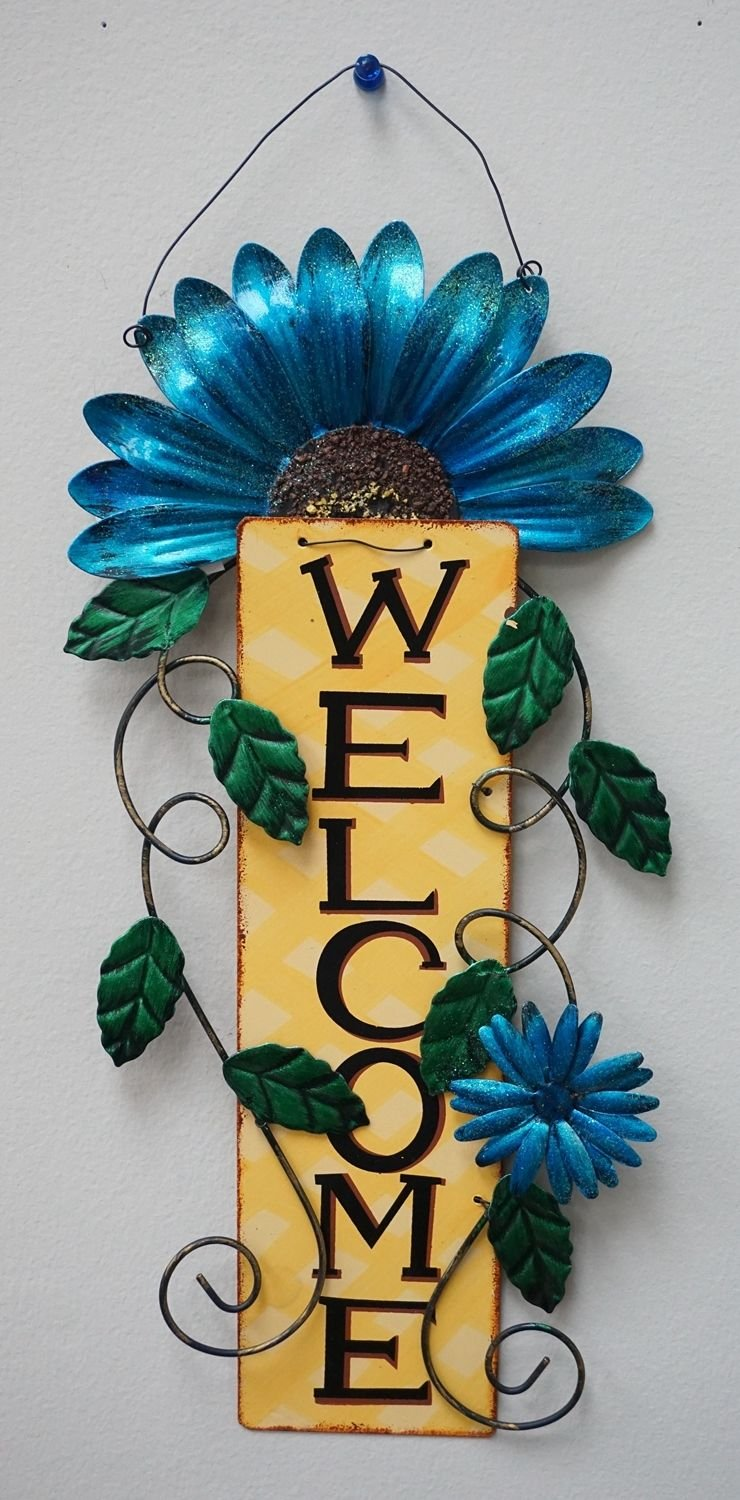 Metal Daisy Welcome Sign Wall Art/Front Door Decor Blue Flower by Lenox