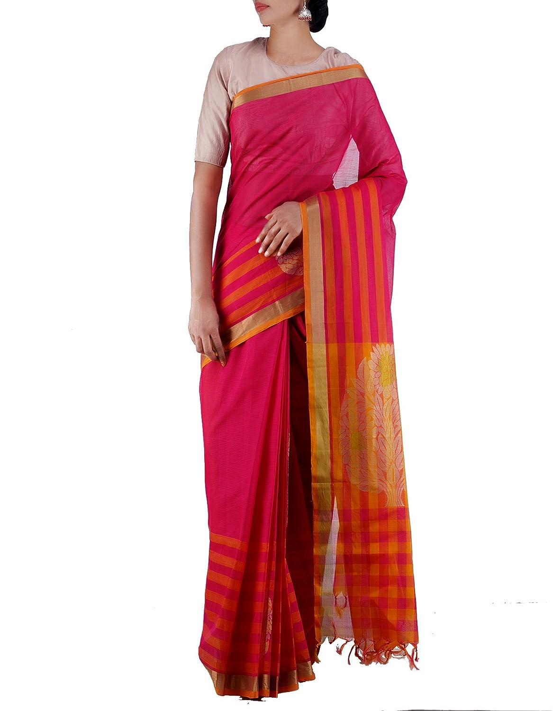 Unnati Silks Women Pink Pure Handloom Uppada Cotton Saree at Rs.950