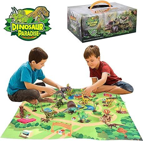 Buleerouy - Alfombra infantil de juguete de dinosaurio con alfombra de juego para actividades y juego de juego realista de dinosaurio: Amazon.es: Hogar