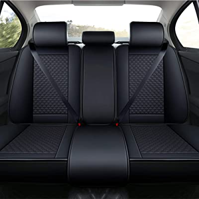 INCH EMPIRE Car Seat Cover-Football Liner Half Perforated Leatherette Cushion Fit for Forte Optima Sportage NIRO Soul Sorento Amanti ES330 ES350 LS460 NX300H CX-3 CX-7 Mazda 6 Murano(Only Rear Black): Automotive