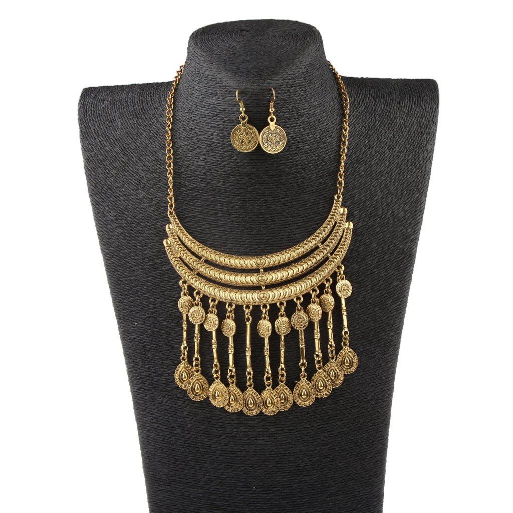 5e35615041ca Conjunto de Bisutería Aretes Pendientes Collar Colgante Borlas Serie  Vintage Color Oro   Plata - Oro  Amazon.es  Juguetes y juegos