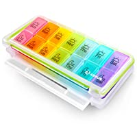 AUVON iMedassist Weekly Pill Organizer (Twice a Day), 7 Day Pill Box Case with Moisture-Proof...