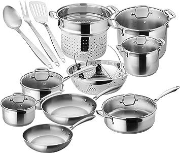 OMS Professional Chef Commercial Saute Casserole Pan 18//10 S//Steel 30cm 7.1 L