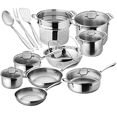 Chef's Star Stainless Steel Pots and Pans, 17 Piece Induction Cookware Set - Oven Safe with Impact-bonded Technology Kitchenware, Cooking Utensils - Silver