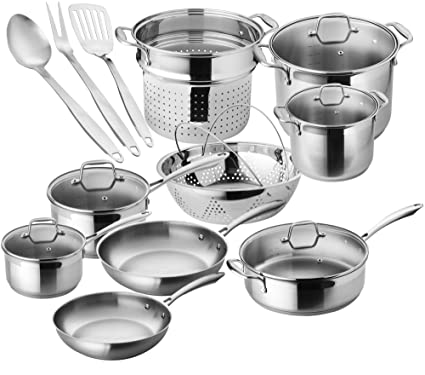 Amazon Com Chefs Star Premium Pots And Pans Set 17 Piece Stainless Steel Induction Cookware Set Oven Safe Kitchen Dining