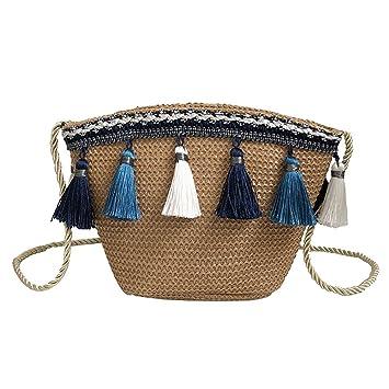 Bolsa Mochila Mujer Casual Yesmile ❤ Bolsos Vintage de Mujer Bolso de la Borla de Tejer Bolsa de Mensajero Bolso Crossbody Bolsa de Playa: Amazon.es: ...