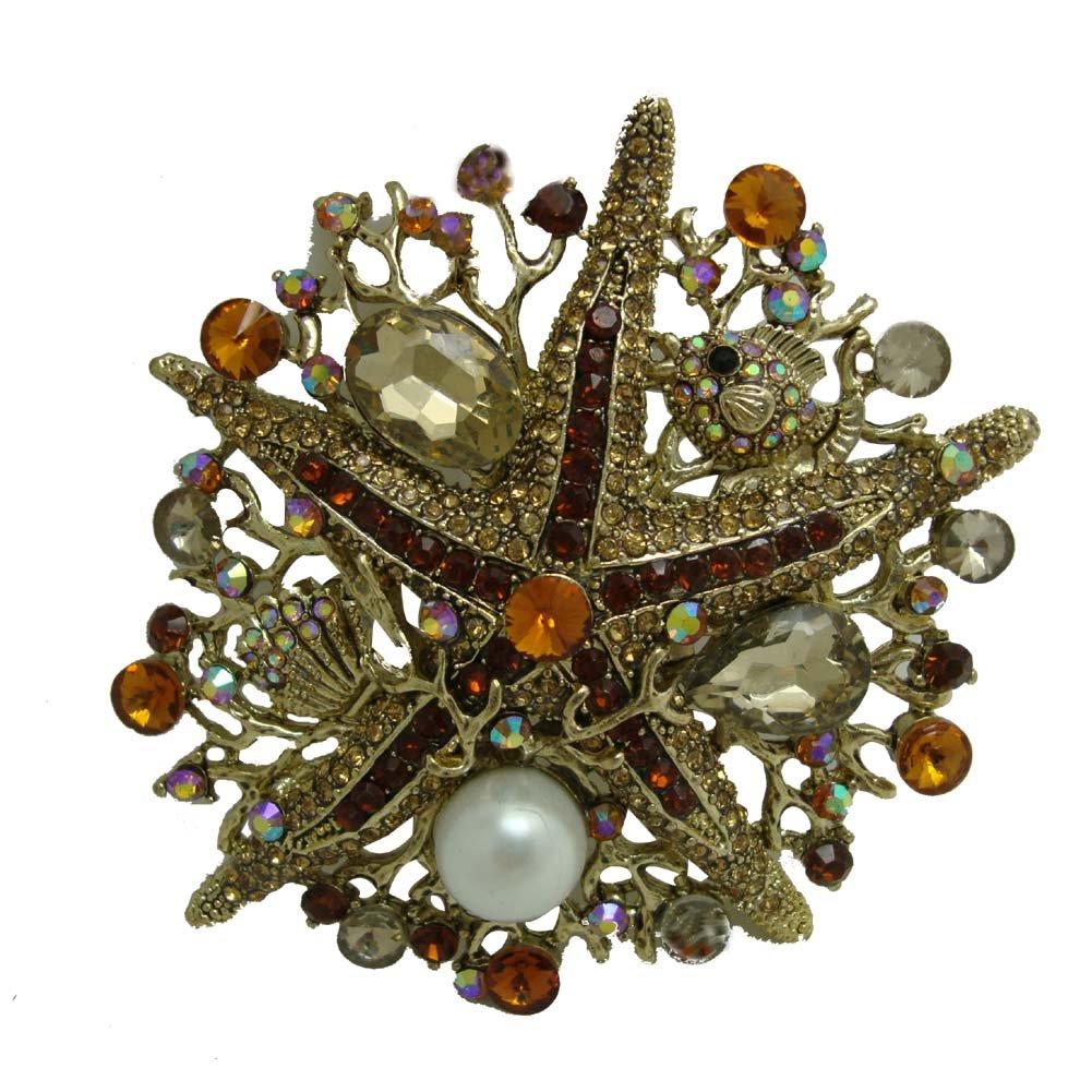 TTjewelry Vintage Style Rhinestone Crystal Starfish Brooch Pin (Brown)