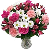 Clare Florist Precious Pink and White Bouquet, Gorgeous Fresh Pink Roses and Carnations Beautifully Arranged - The Perfect Gift for Your Special Someone