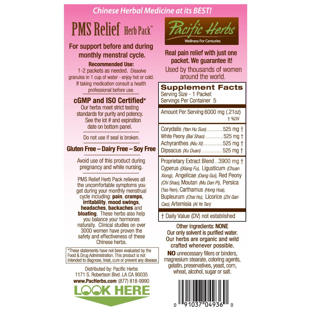 PMS Relief Herb Pack Natural Period Cramp Remedy - 10 Packet Box -  Alternative Pain Relief - Use 1-2 packets per month for Cramps, Headaches,