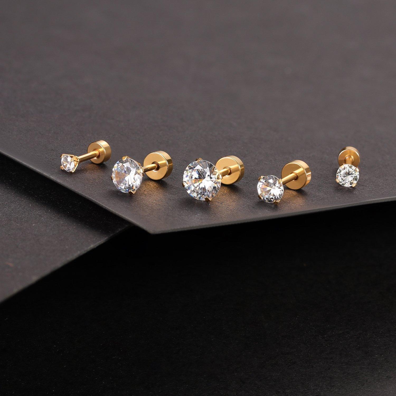 0f00d4efd AMA-ER09-01M02 5 Pairs 3mm-7mm 3mm-7mm Charisma 16G 5 Pairs Stainless Steel  Stud Earrings Piercing Tragus Cubic Zirconia ...