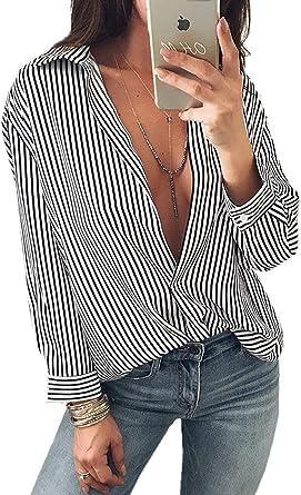 Blusas para Mujer Rayas Sueltas Ocasionales Camisetas Camisas Blusas Casual Camisa Blusa Basicas Sudaderas Blusas Blusas Sin Mangas con Cuello En V Sexy Tops De Manga Larga: Amazon.es: Ropa y accesorios