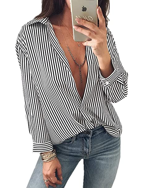 86a3850680 Blusas para Mujer Rayas Sueltas Ocasionales Camisetas Camisas Blusas Casual Camisa  Blusa Basicas Sudaderas Blusas Blusas Sin Mangas con Cuello En V Sexy ...