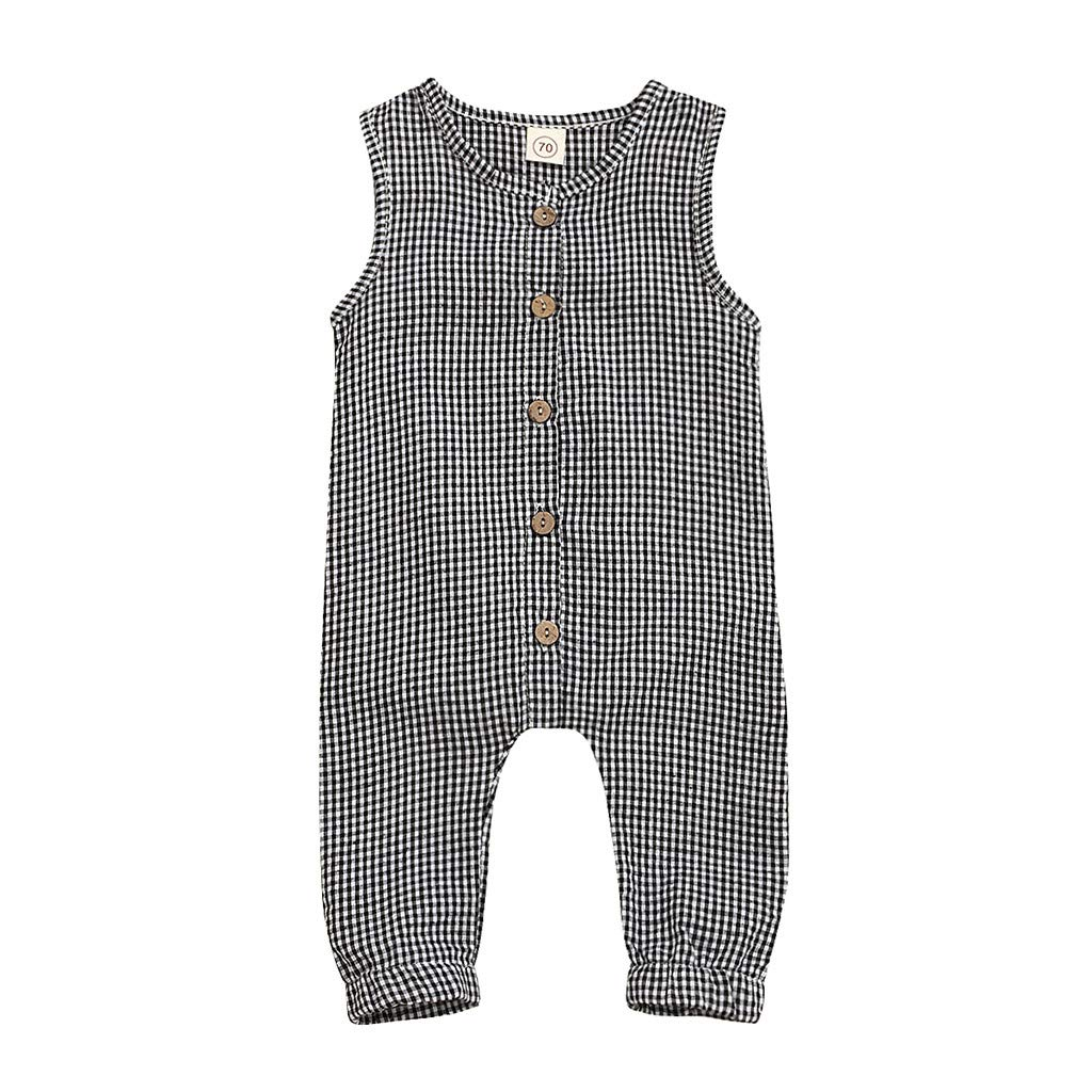 Toddler Infant Baby Girls Boys One Piece Romper Striped Plaid Button Casual Loose Jumpsuit Overalls Summer Clothes Fineser