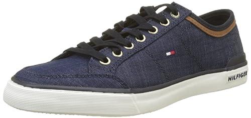 2f0f81337fe48b Tommy Hilfiger Herren CORE Material Mix Sneaker Blau (Midnight 403) 40 EU