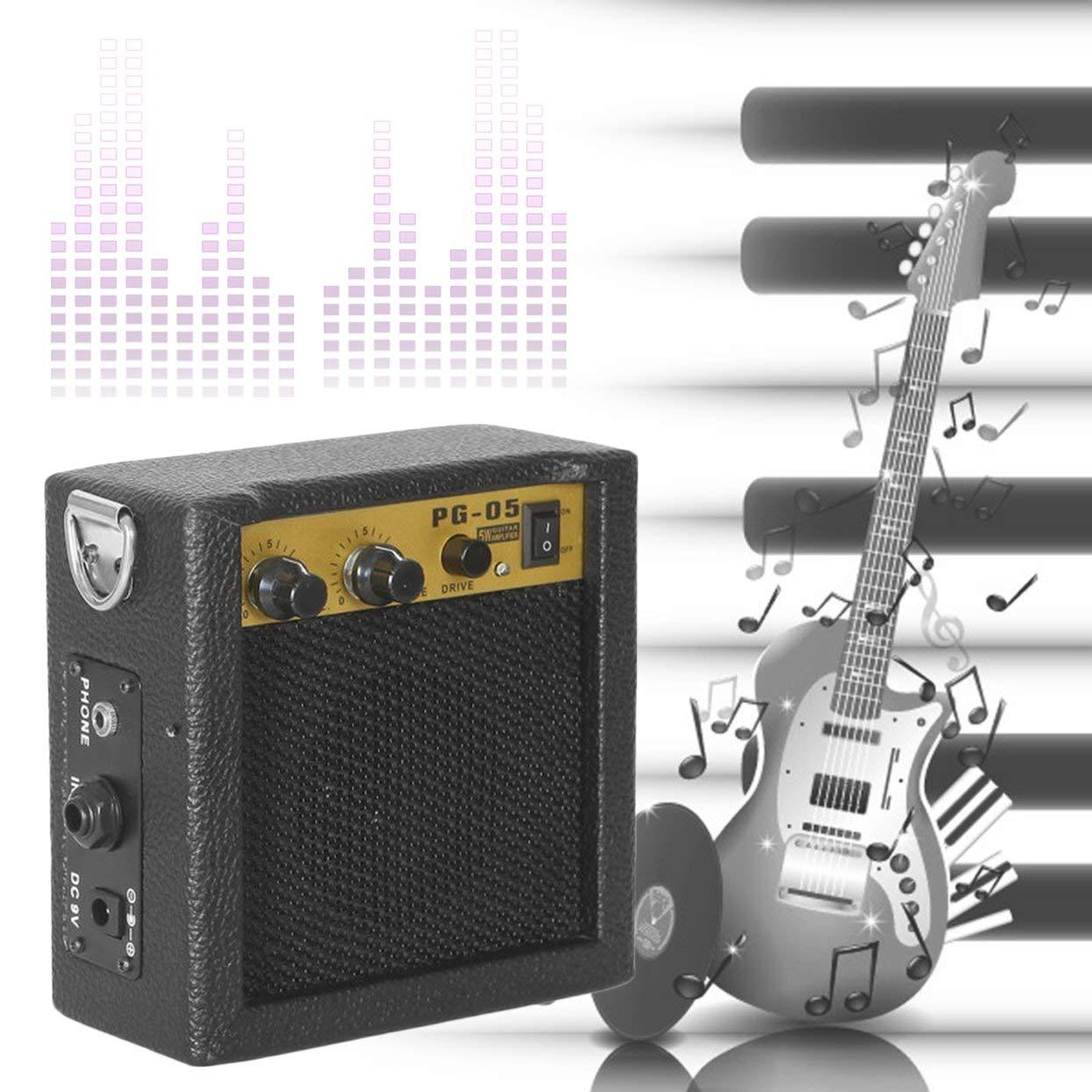 Amplificador de guitarra, amplificador de guitarra, E-WAVE PG-05 5W Mini amplificador de guitarra, amplificador de guitarra con 3 pulgadas de altavoz, ...