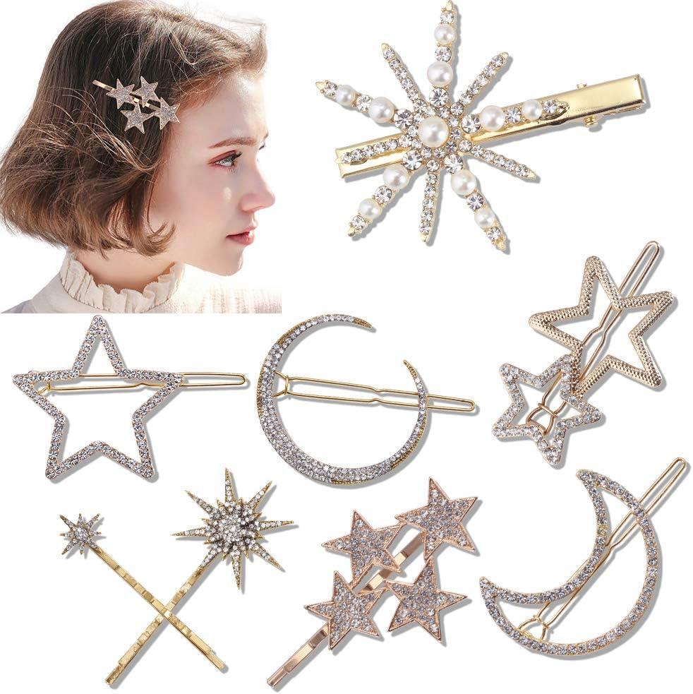 Hair Barrettes Hair Clips Women Sotica 3 pcs Bronze Stars and Moon Hair Clips
