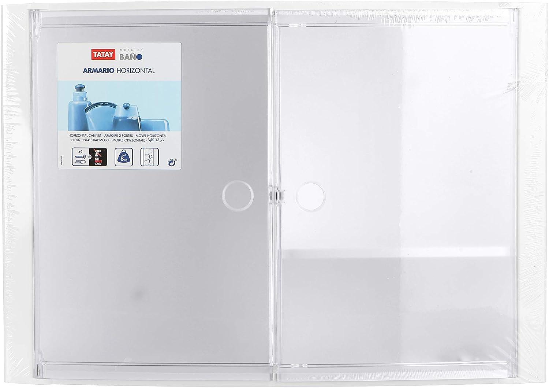 46 x 15,5 x 32 cm 46/x 15,5/x 32/cm Blu Traslucido TATAY 4480200/Armadietto Orizzontale con 2/Ante in plastica Plastica