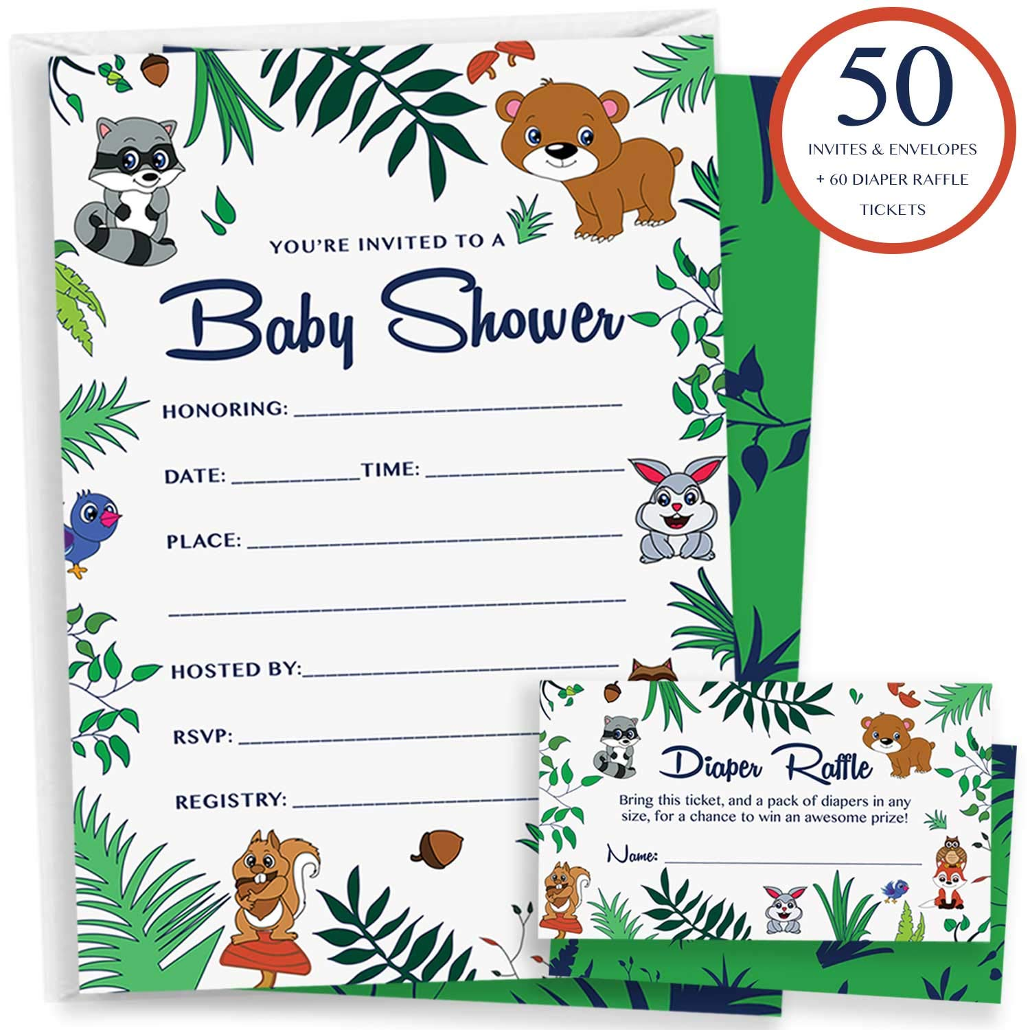 50 Woodland Baby Shower Invitations – 60 Diaper Raffle Cards Blank Envelopes