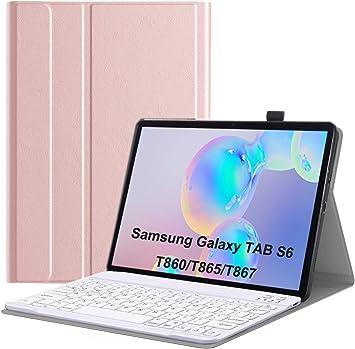 Funda con Teclado para Galaxy Tab S6, Teclado Bluetooth Upworld US Layout con Funda de Cuero para Tableta Samsung de 10,5 Pulgadas (Modelo: T860 / ...