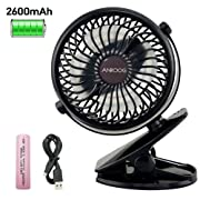 Anroog Stroller Fan,2600mAh Rechargeable Battery or USB Operated Clip on Fan,360°Rotation,Adjustable Speed, Cooling Portable Fan,Mini Desk Fan for Baby,Car Seat,Gym,Travel,Office(Black)