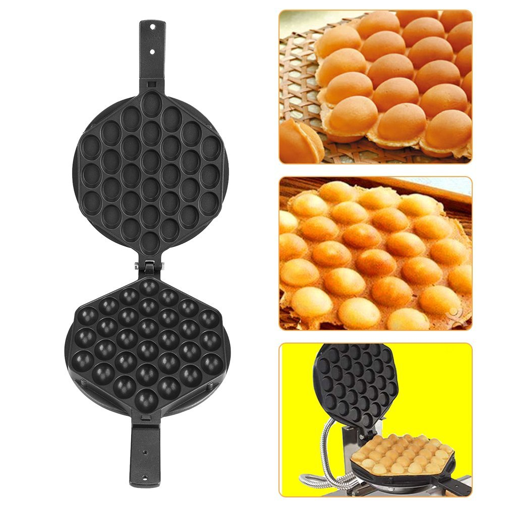 Nonstick Waffle Maker Bubble Waffler Double Sided Iron Mould/Brushes, Stick, Wooden handles, Screws