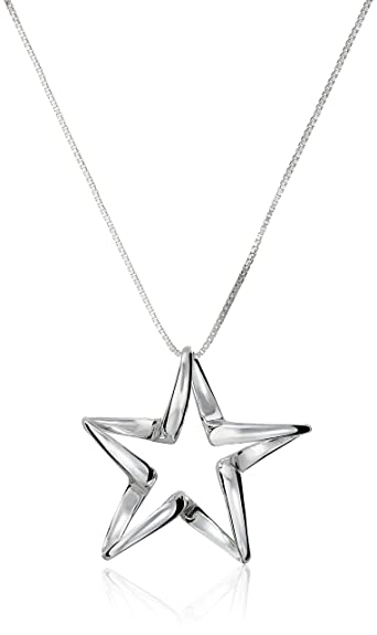 Amazon sterling silver open twisted star pendant necklace 18 sterling silver open twisted star pendant necklace 18quot mozeypictures Image collections