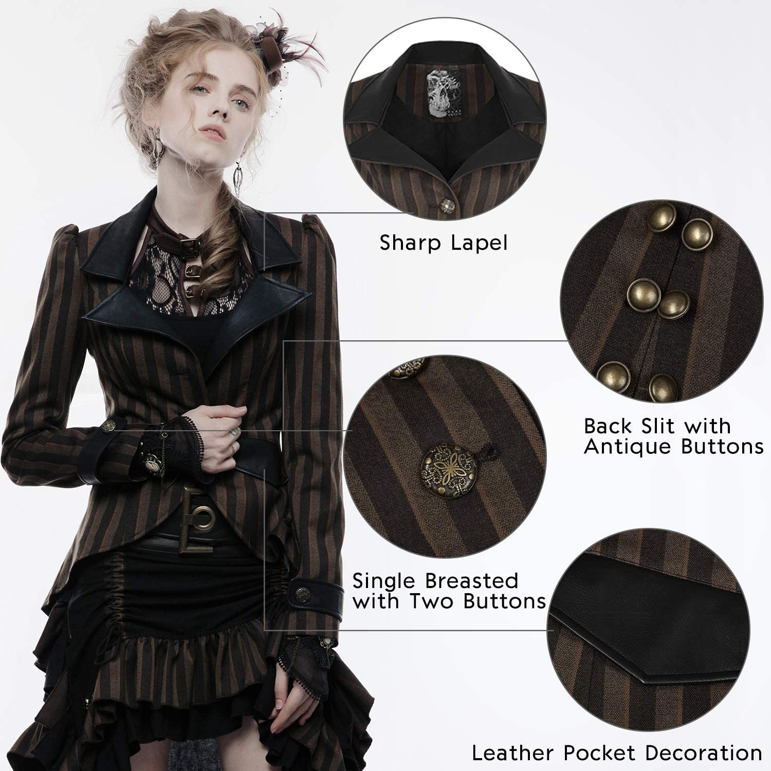 Steampunk Coat Men/'s Cocoa Brown Single Breasted Laced Back Victorian Costume