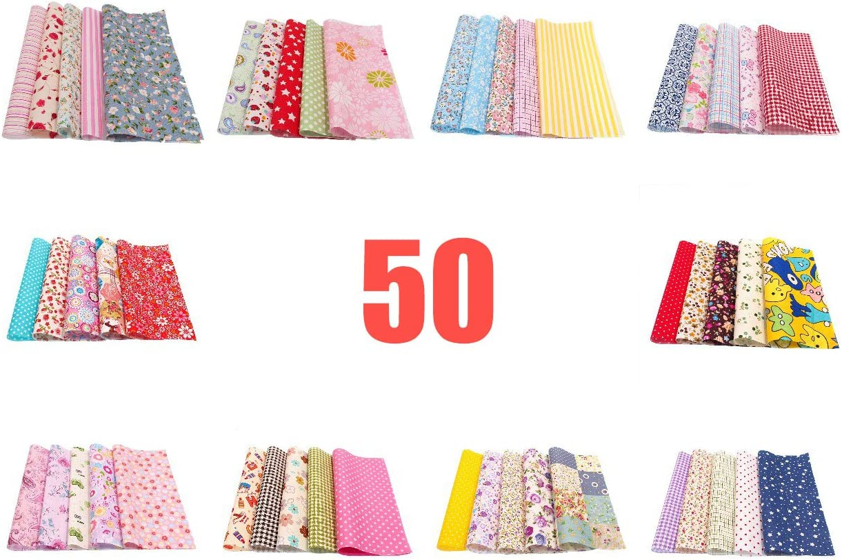 20cmx20cm Printed Cotton Fabric Bundle Squares Patchwork DIY Sewing Scrapbooking Quilting Pattern Artcraft RayLineDo/® 50pcs 8 x 8 inches