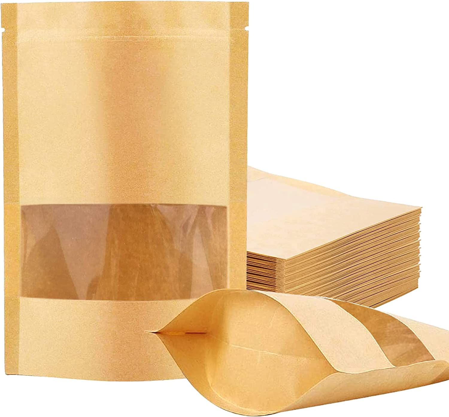 100 Pcs Kraft Paper Bags with Window, 3.9