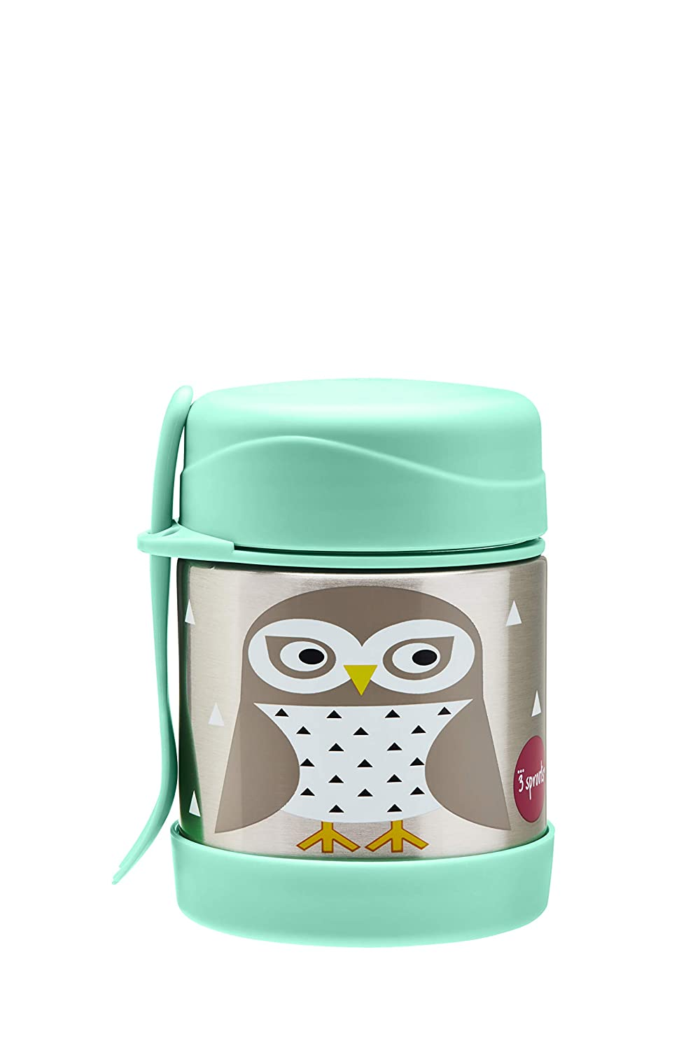 3 Sprouts Stainless Steel Food Jar and Spork for Kids, Owl