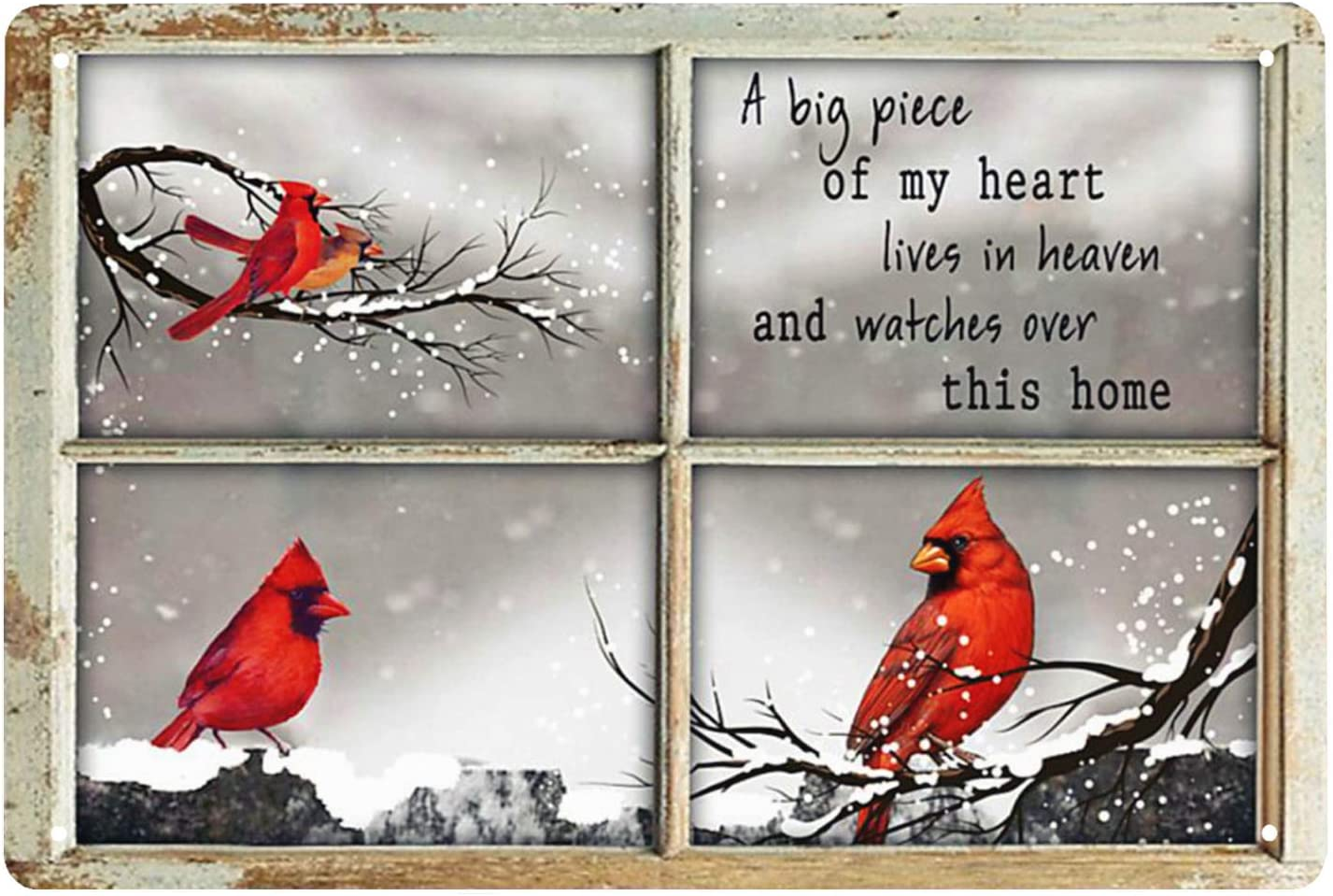 Vintage Tin Sign Cardinal Bird Out Side The Window A Big Piece Of My Heart Lives In Heaven And Watches Over This Home-Retro Home Wall Decoration Cave Bar Kitchen Decoration Sign 8x12 Inch