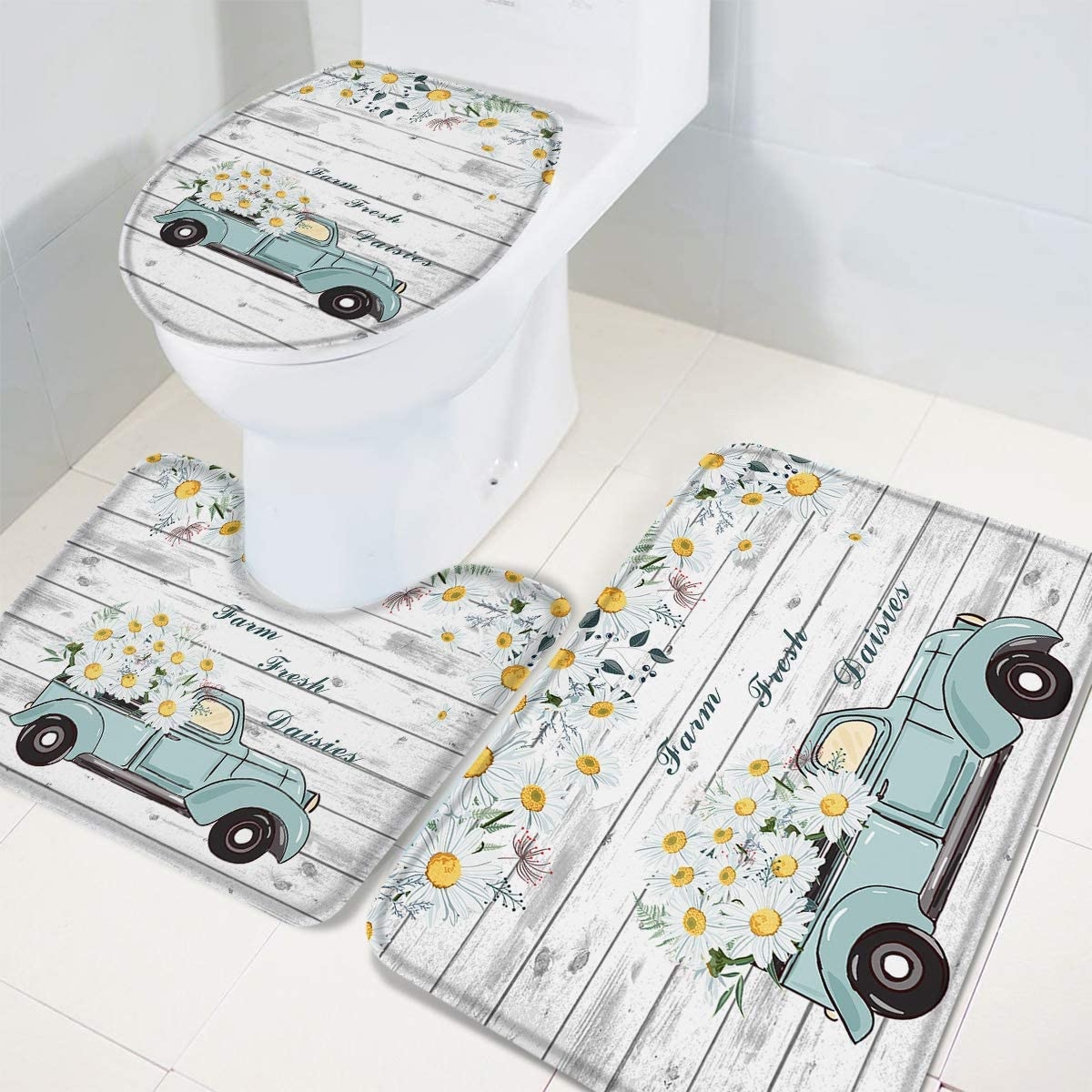 U-Shaped Toilet Floor Mats Fram Fresh Daisy and Vintage Truck Non-Slip Bathroom Decor Doormat Runner Rugs Toilet Seat Cover Wood Texture OneHoney 3-Piece Bath Rug and Mat Sets