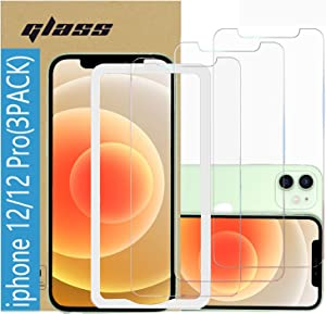 (3 Pack ) Amuoc Tempered Glass Film for Apple iPhone 12 Screen Protector and iPhone 12 pro Screen Protector, with (Easy Installation Tray) Anti Scratch, Bubble Fre