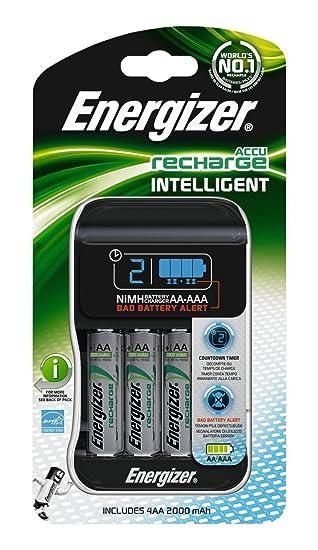 Energizer 635026 - Cargador para pilas AA y AAA (pantalla, 100-240 V, 120-300 mA)